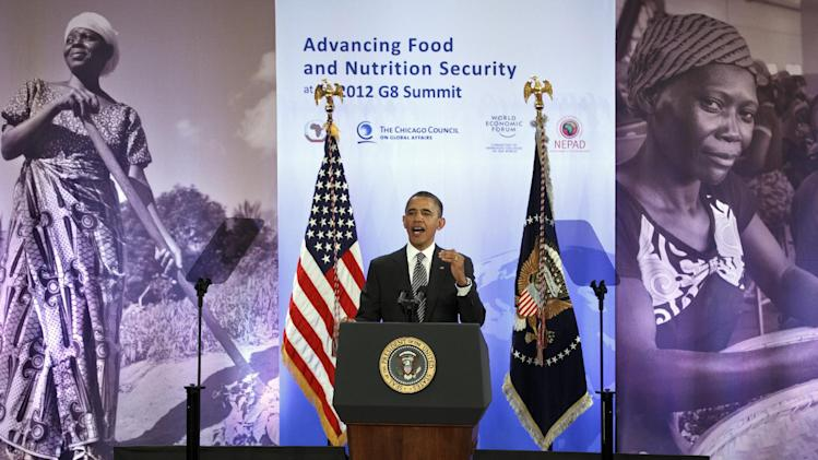 President Barack Obama joins African leaders and aid organizations to address hunger and poverty in Africa, during the Symposium on Global Agriculture and Food Security in Washington, Friday, May 18, 2012.   (AP Photo/J. Scott Applewhite)