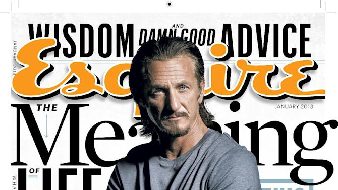 """This magazine cover image released by Esquire shows actor and activist Sean Penn on the cover of the January 2013 issue of """"Esquire.""""  The issue will be available nationwide on Dec. 18. (AP Photo/Esquire)"""