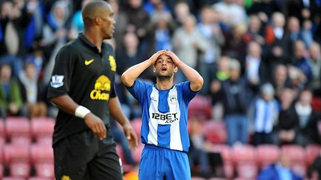 Wigan Athletic's Shaun Maloney rues a missed chance against Everton, October 2012