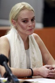 Lindsay Lohan wore streaky brown blush to her court hearing on Wednesday. Photo by Getty Images
