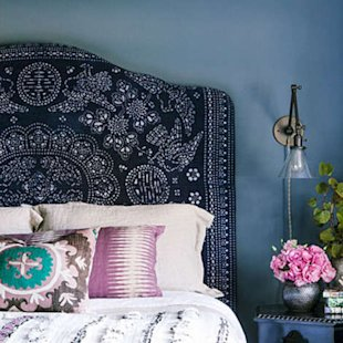 An upholstered headboard