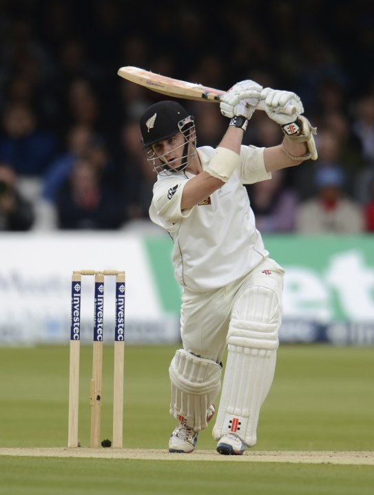 New Zealand's Williamson hits out during the first test cricket match against England at Lord's cricket ground in London