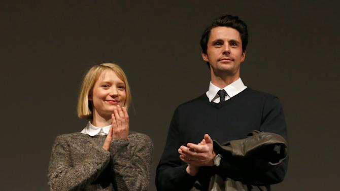"""Actors Mia Wasikowska, left, and Matthew Goode speaks onstage at Fox Searchlight's """"The Stoker"""" premiere during Sundance Film Festival on Sunday, Jan. 20, 2012 in Park City, Utah. (Photo by Todd Williamson /Invision for Fox Searchlight/AP Images)"""