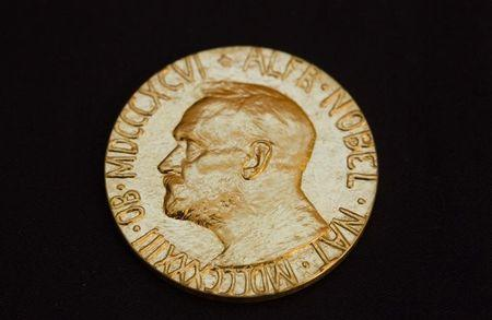 The front of the Nobel medal awarded to this year's Nobel Peace Prize Laureate jailed Chinese dissident Liu Xiaobo is seen