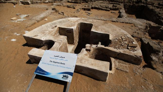 In this Monday, July 22, 2013 photo, a baptism basin is pictured at St. Hilarion's monastery in the Jabaliya refugee camp, northern Gaza Strip. St. Hilarion's monastery, a reminder of the time in late antiquity when Christianity was the dominant faith in what is now the Gaza Strip, is one of many archaeological treasures scattered across this coastal territory. (AP Photo/Hatem Moussa)