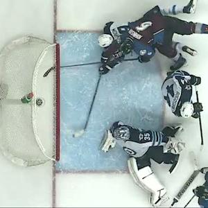 Tobias Enstrom dives to save goal in crease