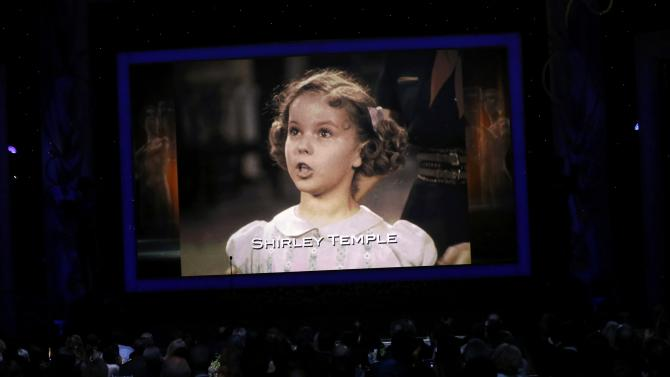 An image of  actress Shirley Temple is shown during the In Memoriam segment at the 21st annual Screen Actors Guild Awards in Los Angeles