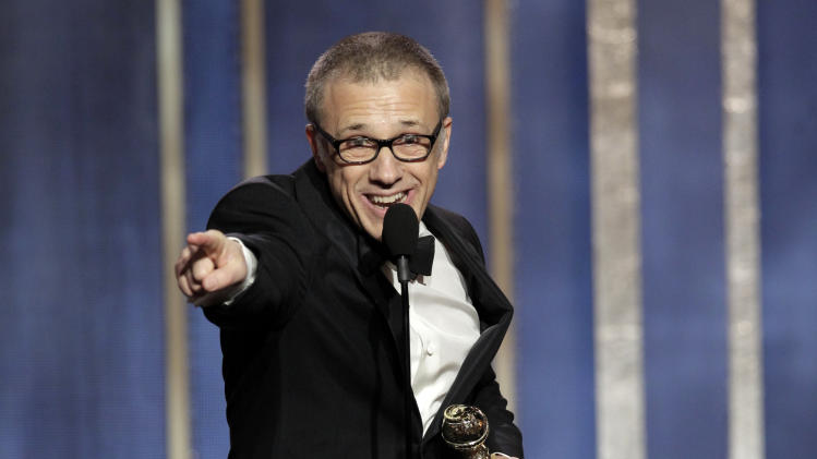 """This image released by NBC shows Christoph Waltz, winner of the best supporting actor in a film for his role in """"Django,"""" on stage during the 70th Annual Golden Globe Awards held at the Beverly Hilton Hotel on Sunday, Jan. 13, 2013, in Beverly Hills, Calif. (AP Photo/NBC, Paul Drinkwater)"""
