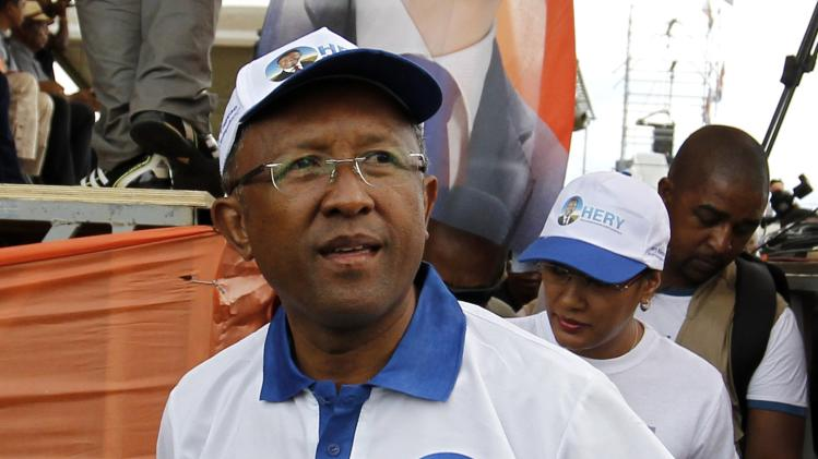 Rakotoarimanana arrives for his final campaign rally in Antananarivo