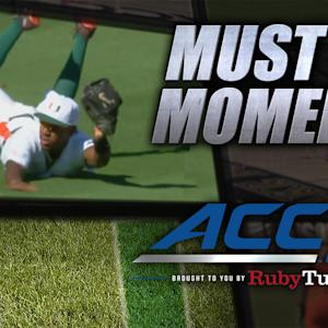 Miami's Ricky Eusebio Makes Awesome Diving Catch | ACC Must See Moment