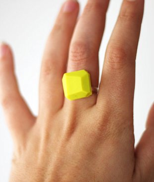 Neon Yellow Geo Ring
