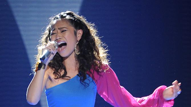"""In this May 9, 2012 photo released by Fox, contestant Jessica Sanchez performs on the singing competition series """"American Idol,"""" in Los Angeles. (AP Photo/Fox, Michael Becker)"""