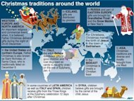 A world map showing different seasonal tradtions.