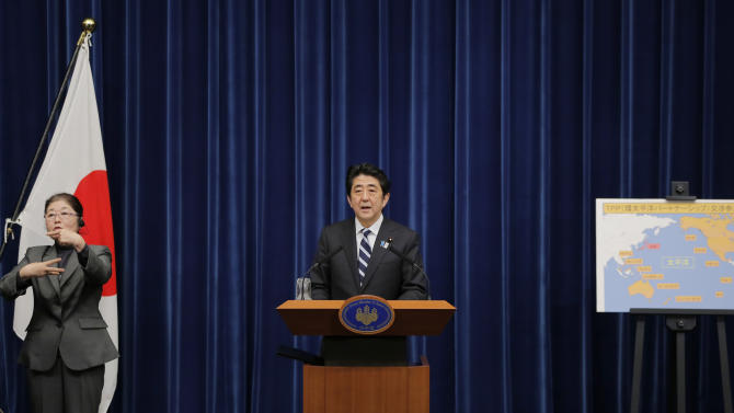 Japanese Prime Minister Shinzo Abe speaks during a news conference on Trans-Pacific Partnership or TPP at his official residence in Tokyo, Friday, March 15, 2013. Abe announced Friday that Japan will join talks on a Pacific trade pact that would oblige the country to open up sheltered industries including farming, long a bastion of protectionism. (AP Photo/Itsuo Inouye)