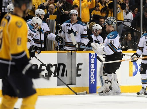 Weber scores twice to lead Preds over Sharks 6-2