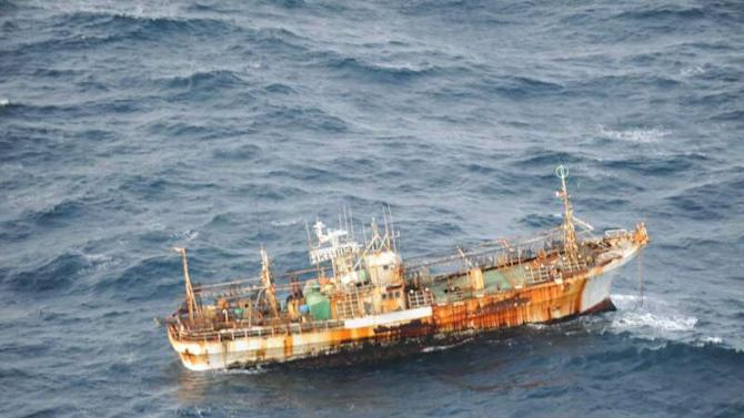 A Japanese fishing boat lost in the Pacific Ocean after the March 2011 earthquake and tsunami was sighted March 20, 2012  drifting 150 nautical miles off the southern coast of Haida Gwaii near British Columbia, Canada by the crew of an aircraft on a routine surveillance patrol. The vessel is considered an obstruction to navigation, and a Notice to Shipping has been issued by the Canadian Coast Guard. (AP Photo/Canadian Department of National Defence via The Canadian Press)