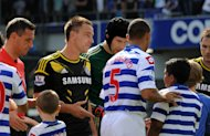 John Terry, left, and Anton Ferdinand prior to the clash between QPR and Chelsea