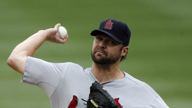 St. Louis Cardinals starting pitcher Jake Westbrook throws during the first inning of a baseball game with the Washington Nationals at Nationals Park, Sunday, Sept. 2, 2012, in Washington. (AP Photo/Alex Brandon)