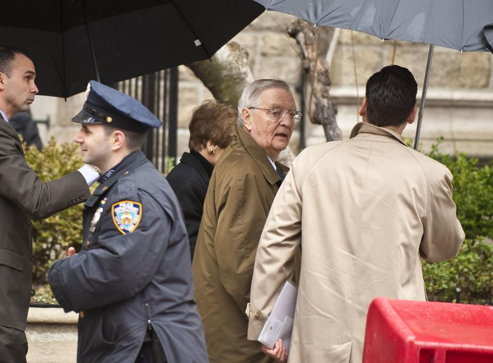 Former vice-president Walter Mondale, center, arrives for the funeral mass for former vice presidential candidate Geraldine Ferraro, Thursday, March 31, 2011 in New York. (AP Photo/Stephen Chernin)