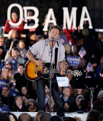 FILE - In this Nov. 2, 2008, file photo Bruce Springsteen performs at an outdoor campaign rally for presidential candidate Barack Obama at the Cleveland Mall, in Cleveland, Ohio. Springsteen is hitting the campaign trail again on President Barack Obama's behalf, and he'll be joined this time by former President Bill Clinton at a rally in Parma, Ohio, Thursday, Oct. 18, 2012. (AP Photo/Alex Brandon, File)(AP Photo/Amy Sancetta)