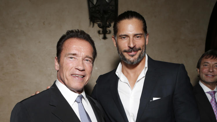 "Arnold Schwarzenegger  and Joe Manganiello attend the after party for the LA premiere of ""The Last Stand"" at Grauman's Chinese Theatre on Monday, Jan. 14, 2013, in Los Angeles. (Photo by Todd Williamson/Invision/AP)"