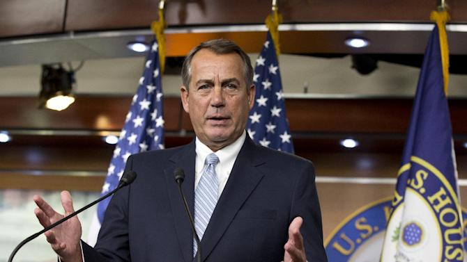 FILE - In this Feb. 6, 2013 photo, House Speaker John Boehner, R-Ohio, repeats his call for President Obama to submit a budget proposal to Congress, during a news conference at the Capitol in Washington. After two stressful years as Washington's most powerful Republican and a pair of failed high-profile rounds of budget talks with President Barack Obama _ and disappointment over Obama's re-election _ the battle-scarred House speaker has adopted a you-first approach. (AP Photo/J. Scott Applewhite, File)