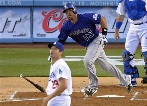 Arenado hits first homer in Rockies' rout of LA