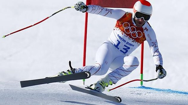 Bode Miller of the U.S. speeds down the course in Sochi downhill training