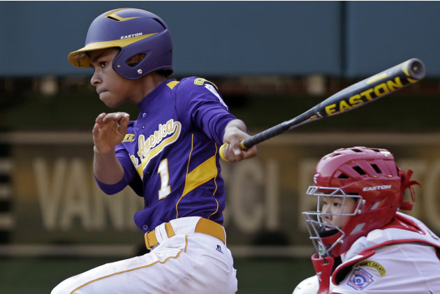 Aguadulce, Panama's Daniel Cruz drives in the team's only run with a fifth-inning double off Tokyo pitcher Ryuji Osada in a baseball game at the Little League World Series in South Williamsport, Pa.,