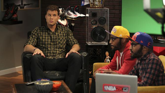 COMMERCIAL IMAGE -  NBA 2K13 cover athlete Blake Griffin, shares a moment with the Lucas Brothers while on set with 2K Sports on Tuesday July 10, 2012, in Las Vegas. (Photo by Jeff Bottari/Invision for 2K Sports/AP Images)