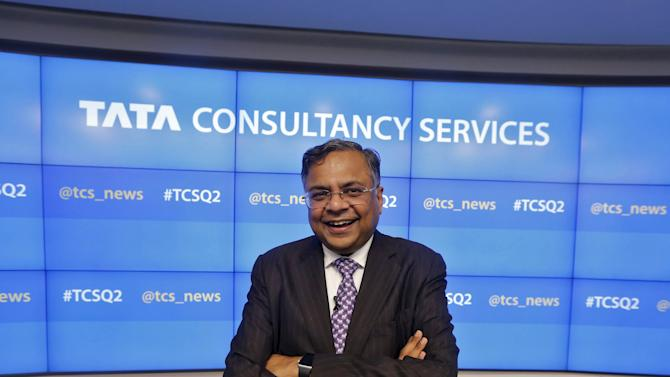 TCS Chief Executive Chandrasekaran poses for a picture after a news conference in Mumbai