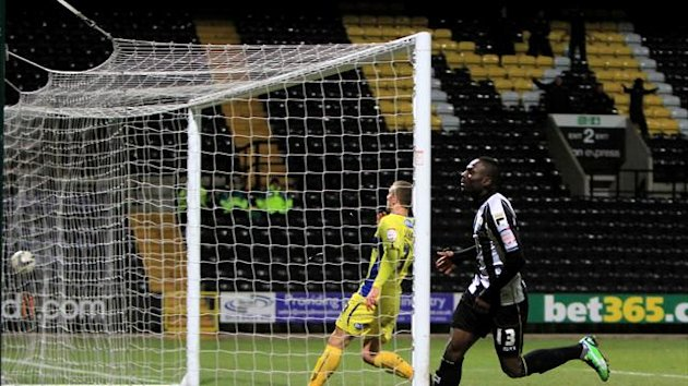 Francois Zoko, right, grabbed two of Notts County's four goals against Bury