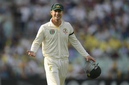 Australia's Clarke gestures during the fifth Ashes cricket test match against England at the Oval cricket ground, London