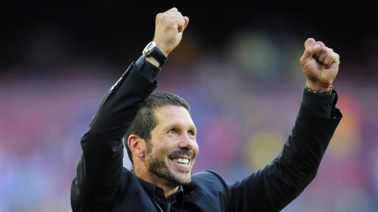 Atletico S Coach Diego Simeone From Argentina Celebrates Winning The
