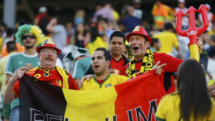 Belgium fans cheer before the 2014 World Cup Group H soccer match between Belgium and South Korea at the Corinthians arena