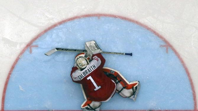 Denmark's goaltender Galbraith defends during their Ice Hockey World Championship game against Belarus at the CEZ arena in Ostrava