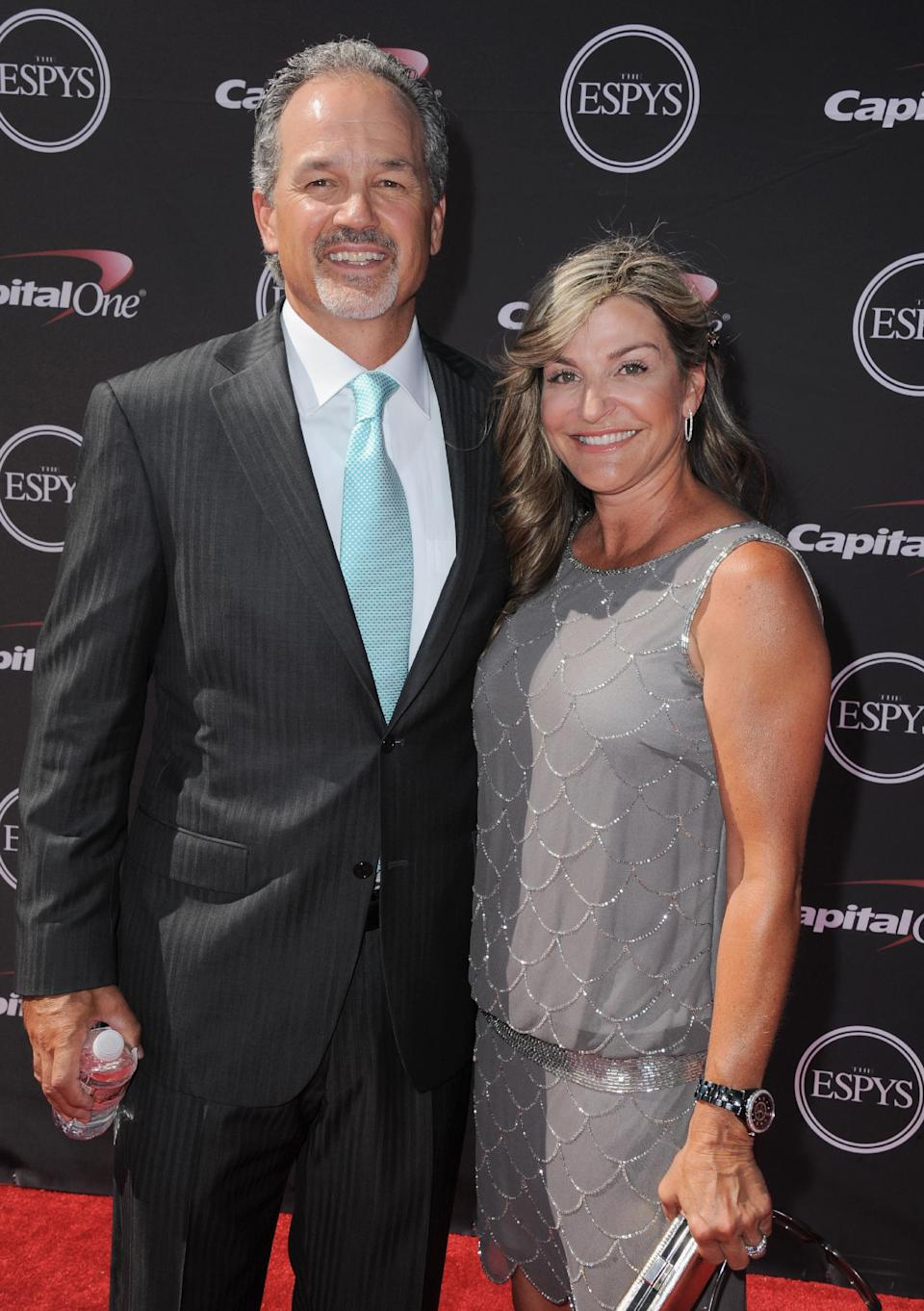 Indianapolis Colts coach Chuck Pagano, left, and Tina Pagano arrive at the ESPY Awards on Wednesday, July 17, 2013, at the Nokia Theater in Los Angeles. (Photo by Jordan Strauss/Invision/AP)