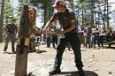 In this July 10, 2014 photo, Tommy Grunow of Riverside, Conn., peels the bark from a white pine log at the Adirondack Woodsmen's School at Paul Smith's College in Paul Smiths, N.Y. Eighteen young students in matching gray sports shirts took part recently in a weeklong crash course on old-school lumberjack skills such as sawing, chopping, ax throwing, log boom running and pole climbing. (AP Photo/Mike Groll)