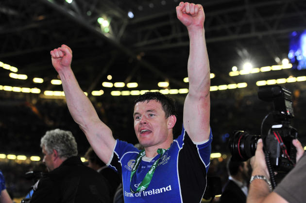 Leinster's Irish centre Brian Driscoll celebrates after his team wong their Heineken Cup Final match against Northampton Saints at the Millennium Stadium, Cardiff, Wales, on May 21, 2011. AFP PHOTO/GL