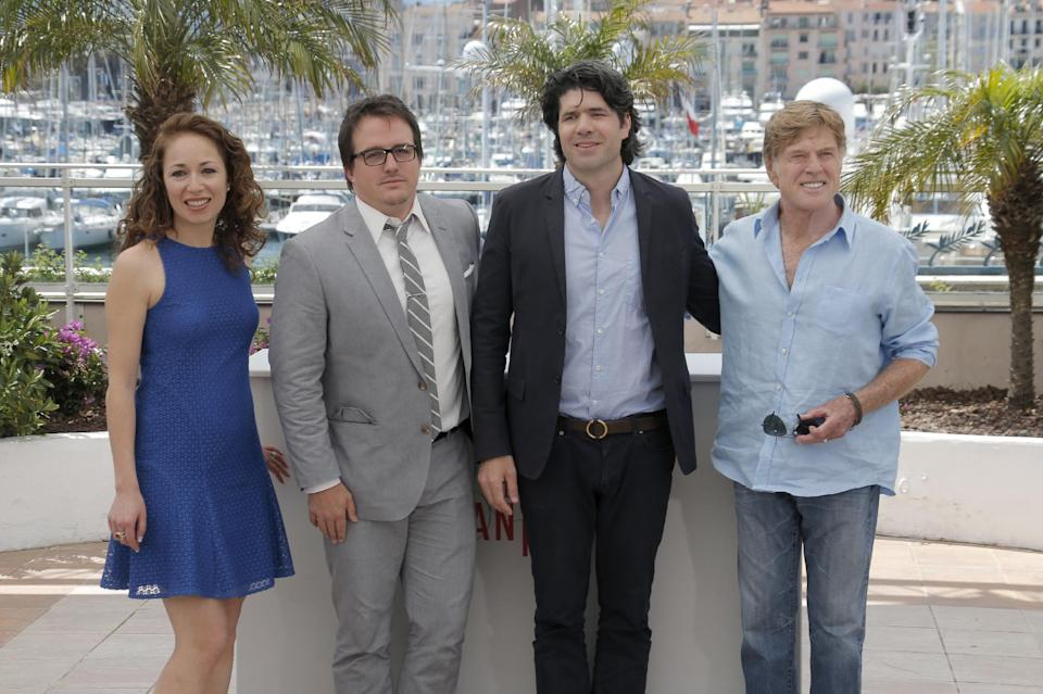 From left, producers Anna Gerb, Neal Dodson, director J.C. Chandor and actor Robert Redford pose for photographers during a photo call for the film All Is Lost at the 66th international film festival, in Cannes, southern France, Wednesday, May 22, 2013. (Photo by Todd Williamson/Invision/AP)