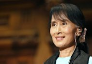 Myanmar's democracy champion and Nobel Peace Prize laureate, Aung San Suu Kyi, pictured during a conference at Sorbonne University in Paris, on June 28. Hundreds of cheering supporters welcomed Suu Kyi back to Myanmar on Saturday, after her triumphant five-nation European tour