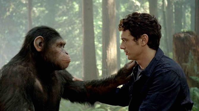 "In this image released by Twentieth Century Fox, Caesar the chimp, a CG animal portrayed by Andy Serkis, and James Franco are shown in a scene from ""Rise of the Planet of the Apes ."" Studio estimates Sunday pegged ""Rise of the Planet of the Apes"" at $27.5 million, good enough for its second-straight No. 1 finish. The 20th Century Fox release raised its 10-day domestic total to $104.9 million(AP Photo/Twentieth Century Fox)"
