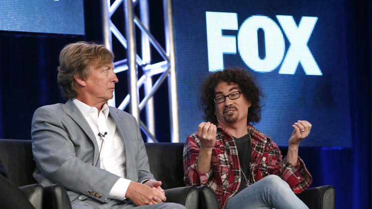 "Producers Nigel Lythgoe and Fox's President of Alternative Entertainment Mike Darnell from ""American Idol"" attend the Fox Winter TCA Tour at the Langham Huntington Hotel on Monday, Jan. 7, 2013, in Pasadena, Calif. (Photo by Todd Williamson/Invision/AP)"