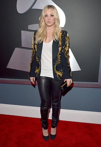 WORST: Kaley Cuoco wearing an Amen jacket Fine, this awards show has more of a rock'n'roll vibe, but I'd like to put a moratorium on white tank tops on on ANY red carpet, thanks. Also, suede round-toe