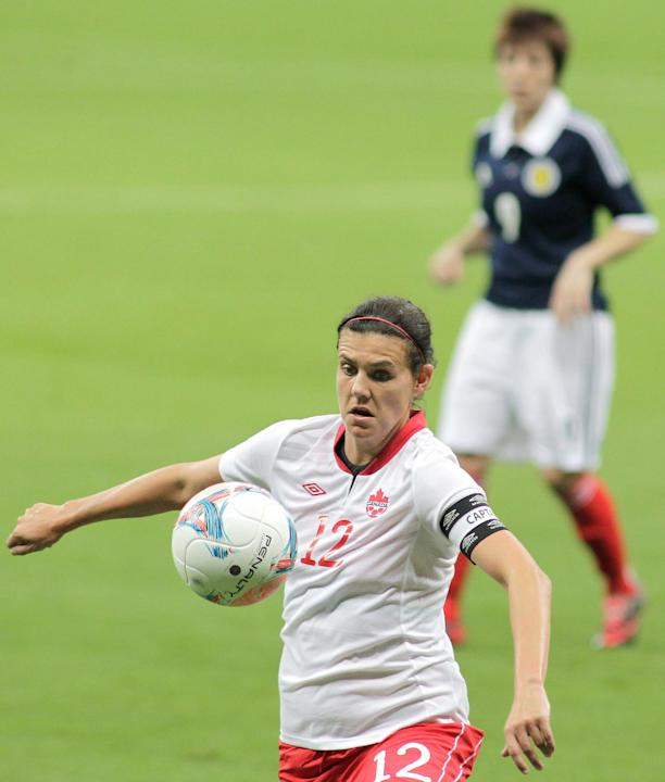 Canada's Christine Sinclair controls the ball during a match of the International Women's Football Tournament against Scotland at the National Stadium in Brasilia, Brazil, Thursday, Dec. 12, 2