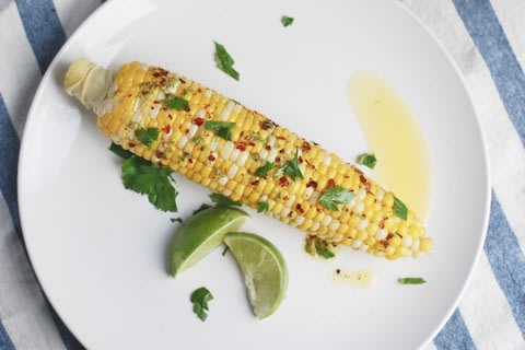 Spicy Corn on the Cob with Lime Butter