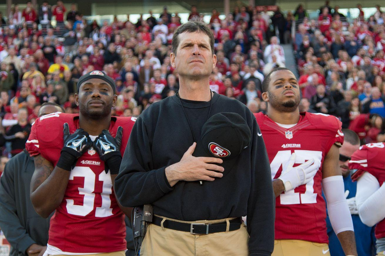 Former 49ers coach Jim Harbaugh says he's been to Peru as often as San Francisco
