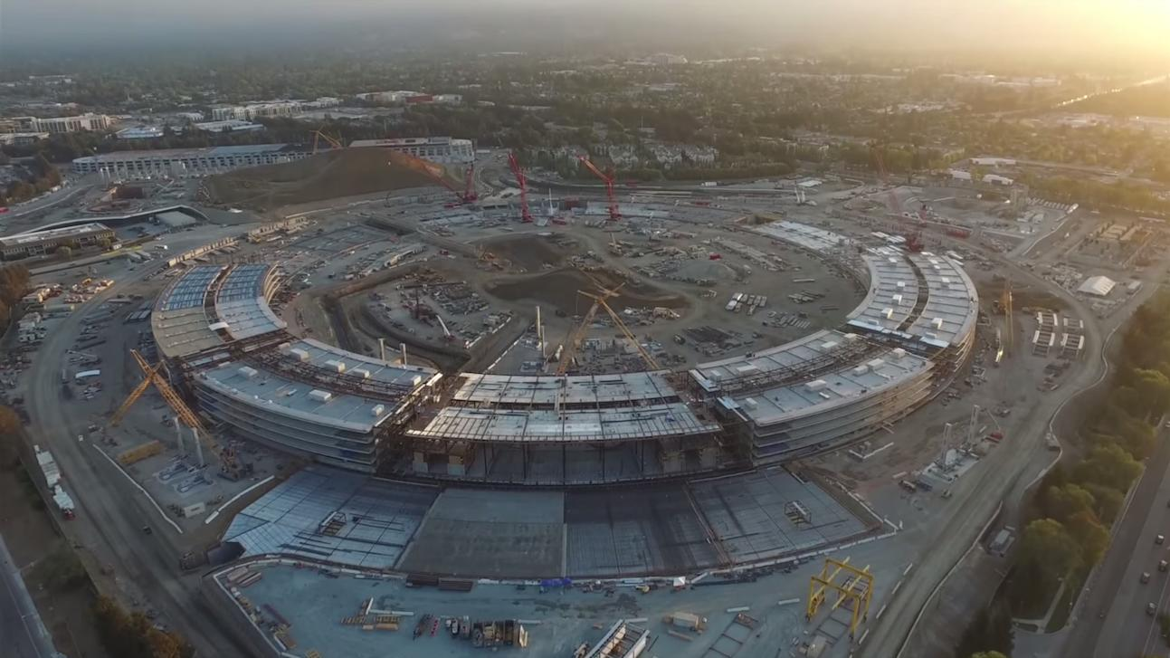 See the progress being made on Apple's spaceship campus in this drone flyby video