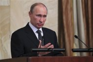 Russian President Vladimir Putin delivers a speech during a meeting of the Federal Security Service board in Moscow, February 14, 2012. REUTERS/RIA Novosti/Michael Klimentyev/Pool
