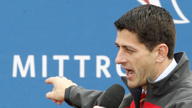 Republican vice presidential candidate, Rep. Paul Ryan, R-Wis. gestures while speaking at a campaign rally at the Valley View Campgrounds in Belmont, Ohio, Saturday, Oct. 20, 2012, where he talked about economic conditions and the coal industry. (AP Photo/Keith Srakocic)